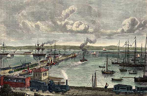 photo of wood engraving of Granton Harbour