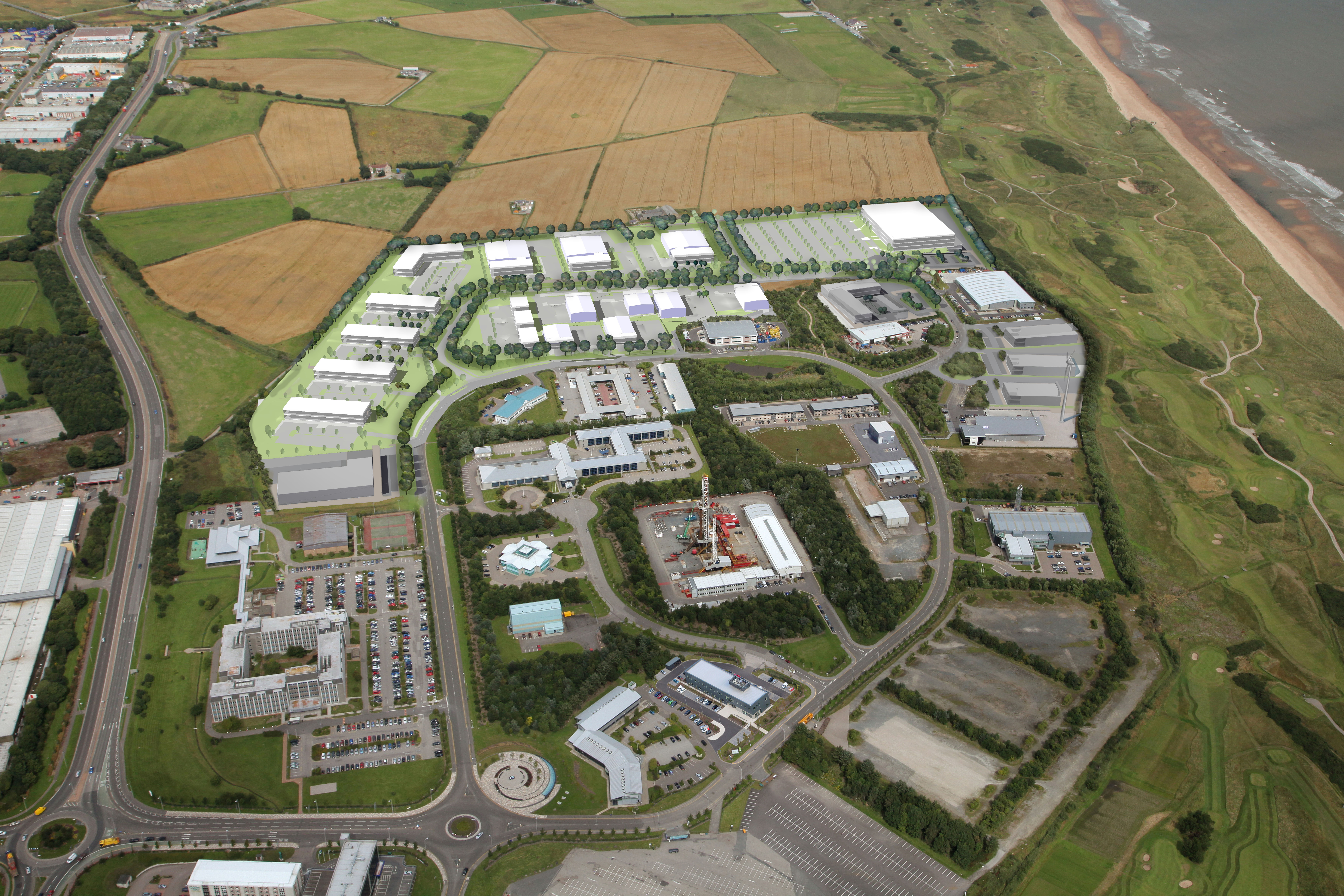 Aerial image of Aberdeen Energy Park, outlining indicative planned development for expansion land